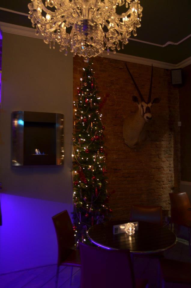 opgezette dieren in een kerst interieur